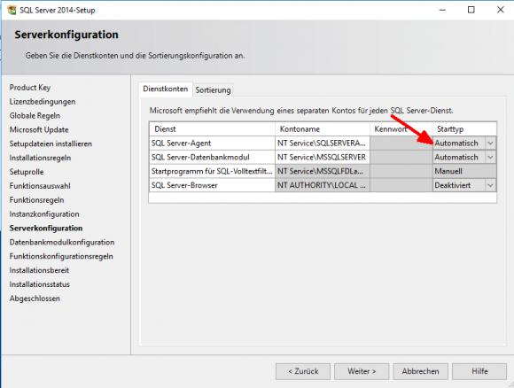 Starttyp für SQL Server Agent auf automatisch setzen