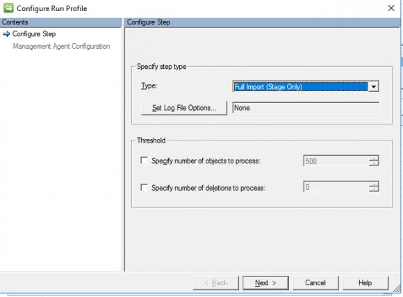 Run Profile für den Sync-Agent der Ausgangsdomäne konfigurieren