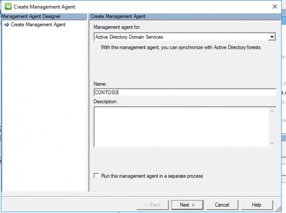 Management Agent für die AD Domain Services auswählen