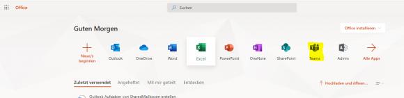Start von Teams über das Symbol im Microsoft-365-Portal