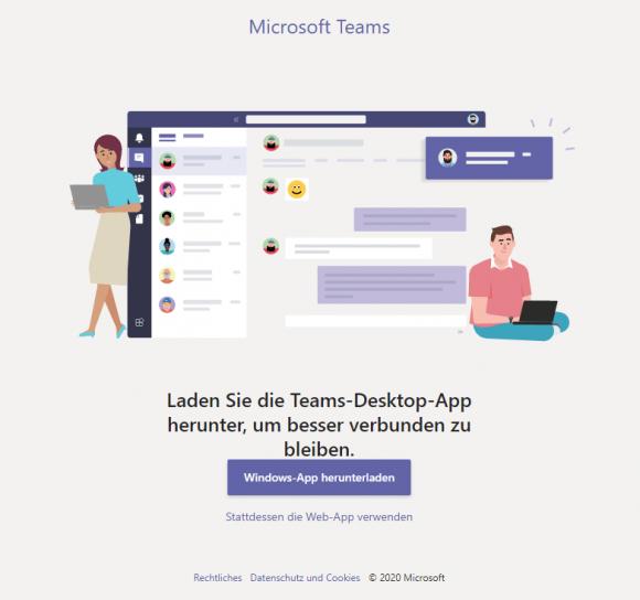 Beim ersten Start schlägt Teams dem User vor, den Desktop-Client für Windows herunterzuladen.