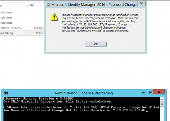 Schema des Active Directory anpassen für PCNS