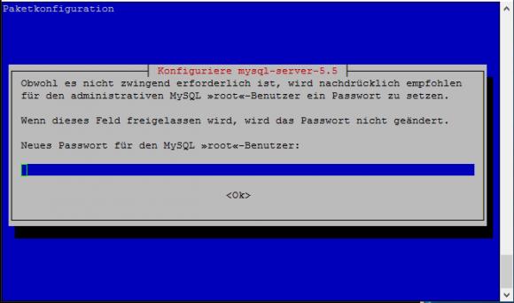 Festlegen des root-Passworts für MySQL