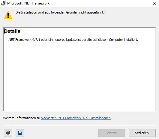 Das .NET-Framework 4.7.1 muss man nur unter Server 2016 aufspielen