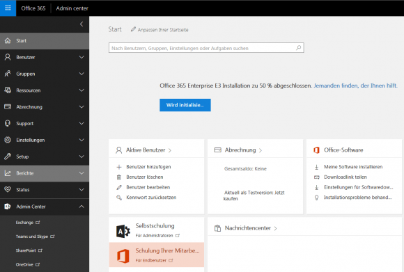 Das Admin Center von Office 365