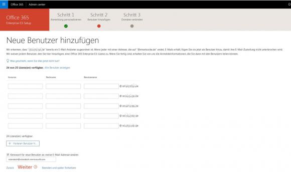 Anlegen neuer Benutzer für Office 365