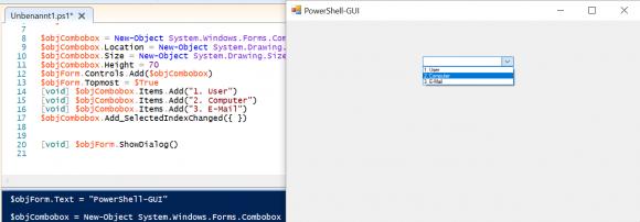 Beispiel für eine Combobox mit PowerShell
