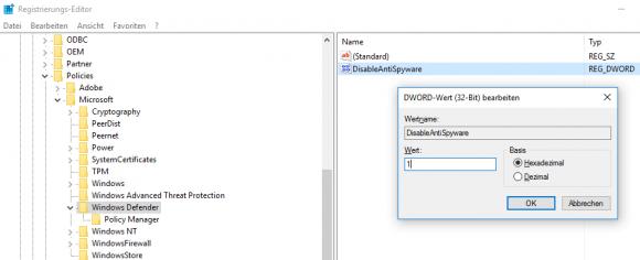 Registry-Eintrag zum Deaktivieren von Windows Defender