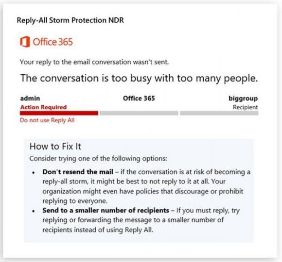 Die Reply All Storm Protection informiert User mit dieser Nachricht, wenn der Versand an Verteilergruppen blockiert wurde.