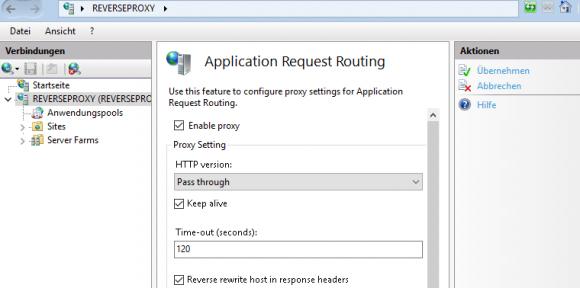 Proxy in den Einstellungen von Application Request Routing aktivieren
