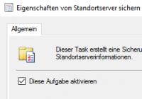 SCCM-Task für Backup aktivieren