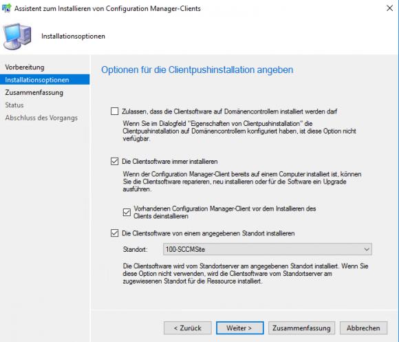 Optionen für die Installation des SCCM-Clients konfigurieren