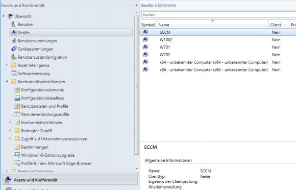 Übersicht über die Geräte, aus der hervorgeht, wo der SCCM-Client noch nicht installiert ist.