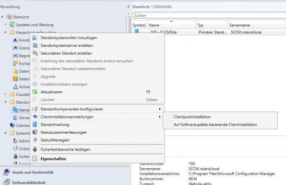Push-Installation für den SCCM-Client konfigurieren