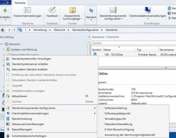 Konfiguration der Softwareverteilung unter Standorte