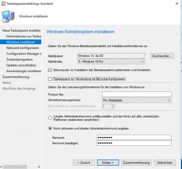 Betriebssystemabbild für die neue Tasksequenz auswählen
