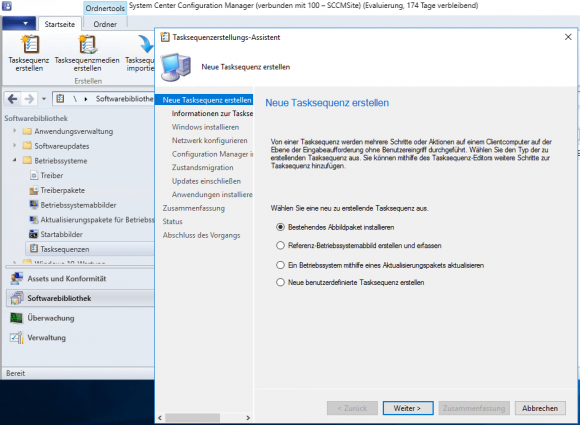 Neue Tasksequenz für die Installation des Betriebssystems erstellen