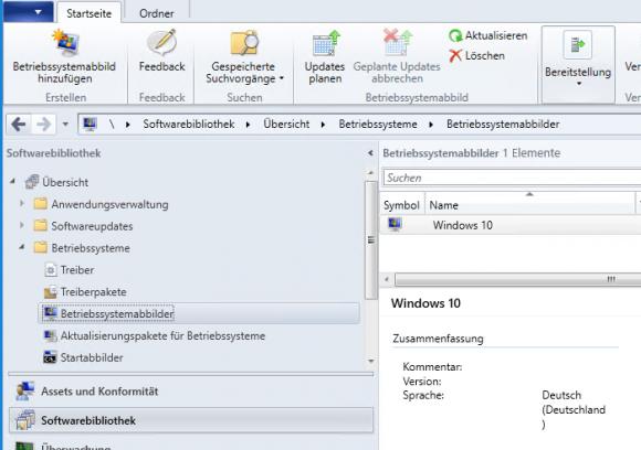 Das neu hinzugefügte Windows-Abbild erscheint nun in der Übersicht der Images.
