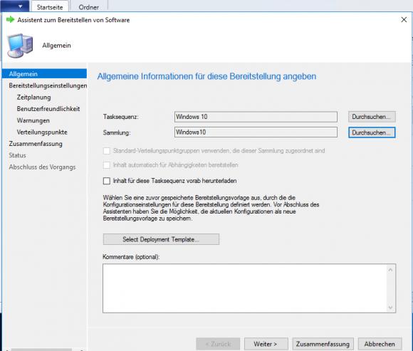 Task-Sequenz und Client-Sammlung für ein Deployment angeben