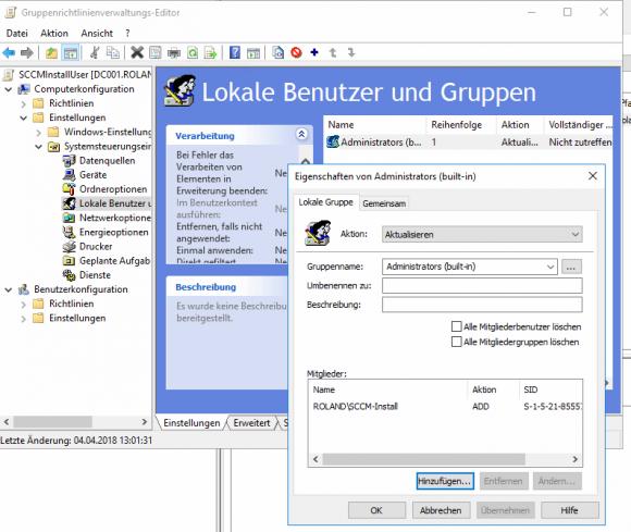 Installationsbenutzer mit lokalen Admin-Rechten über Gruppenrichtlinien anlegen.
