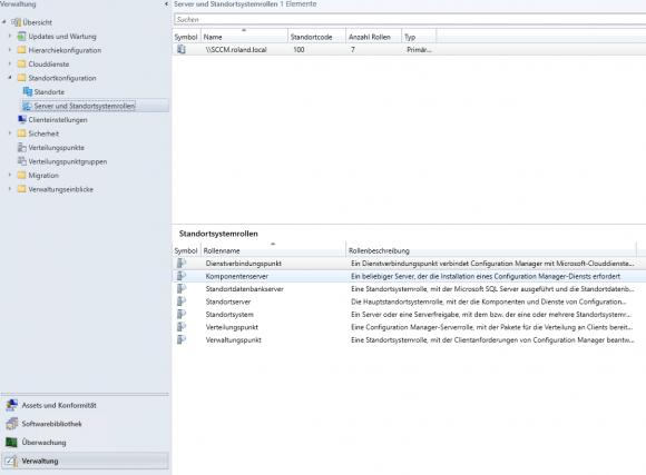Überblick über die installierten Standortsystemrollen in SCCM