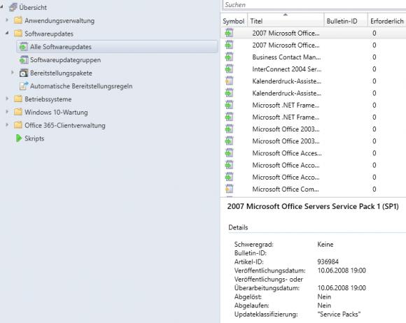 Nach der erfolgreichen Erstsynchronisierung füllt sich die Liste der Updates im SCCM.