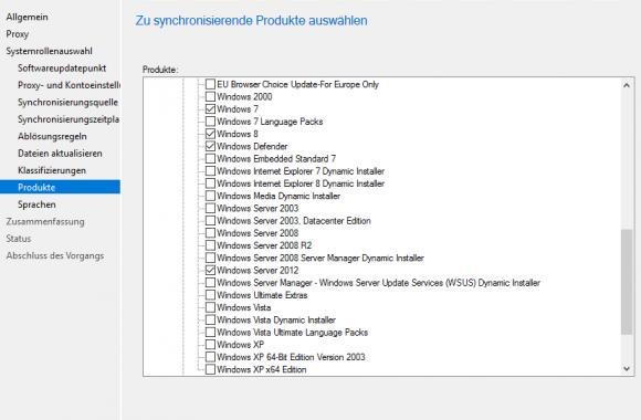Festlegen, für welche Produkte man Updates beziehen möchte
