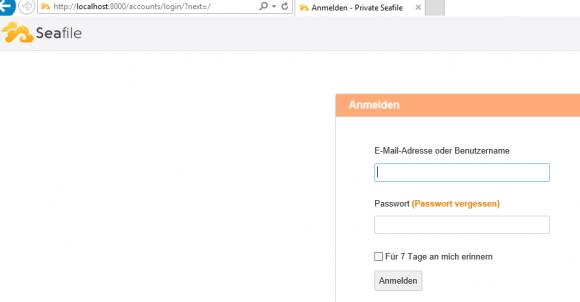 Erste Anmeldung am Seafile Server über die Browser-Oberfläche