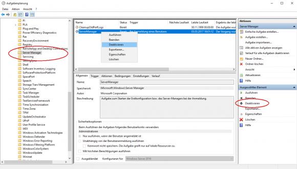 Automatischen Start von Server Manager in der Aufgabenverwaltung deaktivieren