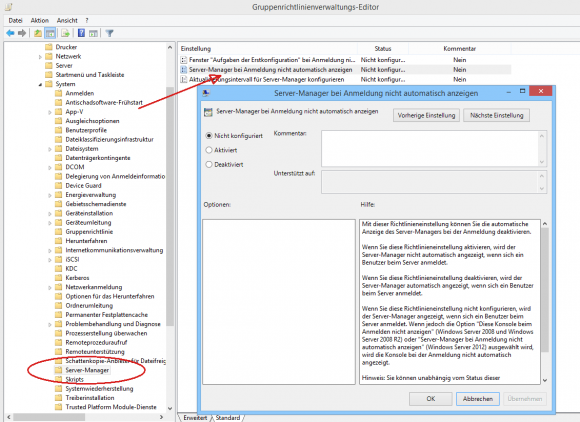 Automatischen Start des Server Managers mit GPO blockieren