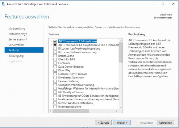 Die Vorarbeiten beginnen mit der Installation des .NET-Framework 3.5