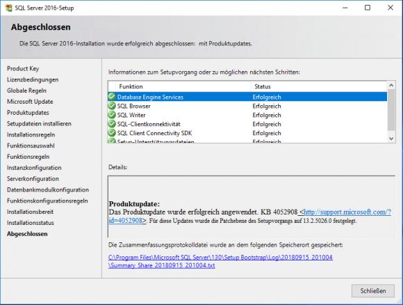 Abschluss der Installation von SQL Server