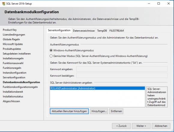 Authentifizierungsmodus für SQL Server festlegen