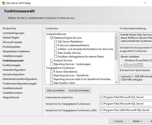 Auswahl der Funktionen für SQL Server