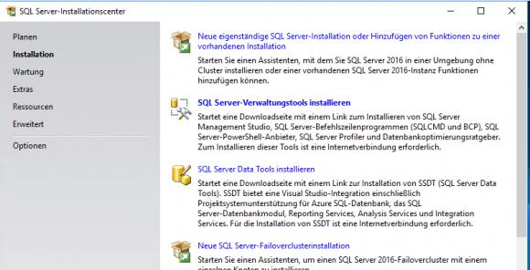 Installationstyp im Setup-Wizard von SQL Server auswählen