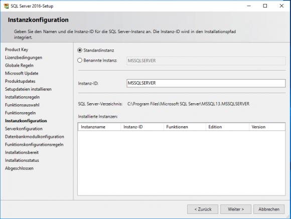 Auswahl des Instanztyps für SQL Server