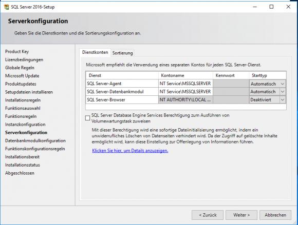 Dienstkonten und Starttyp für Module des SQL Servers konfigurieren.