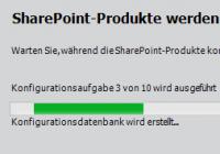 Fortschrittsanzeige bei der Konfiguration von SharePoint