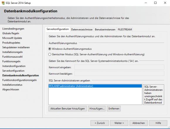 Authentifizierungsmodus für SQL Server Express auswählen