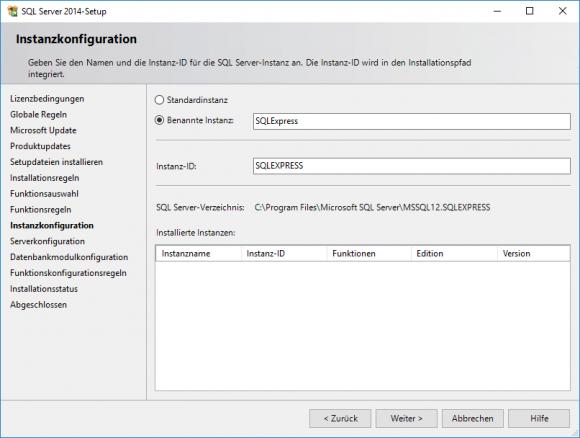 Instanzname bei der Installation von SQL Server Express angeben