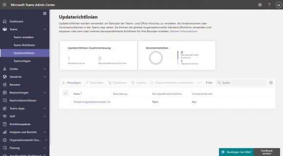 Updaterichtlinien im Teams Admin Center