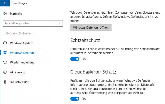 Das Abschalten von Windows Defender über die App Einstellungen ist nicht von Dauer.