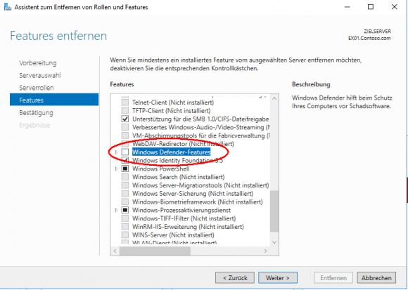 Unter Windows Server lässt sich der Defender als Feature deinstallieren.