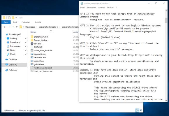 Anweisungen in der Readme-Datei in XboxoneHDD-Master