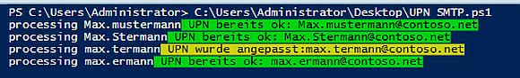 Ausgabe des Scripts zum Anpassen der UPN im Active Directory