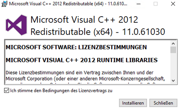 Microsoft Visual C ++ 2012 Redistributable is another prerequisite for the management tools.