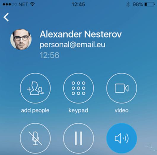 Die Apps für iOS und Android bieten viele Funktionen der CommuniGate Pro Groupware direkt auf dem Mobilgerät, darunter auch VoIP-Telefonie.