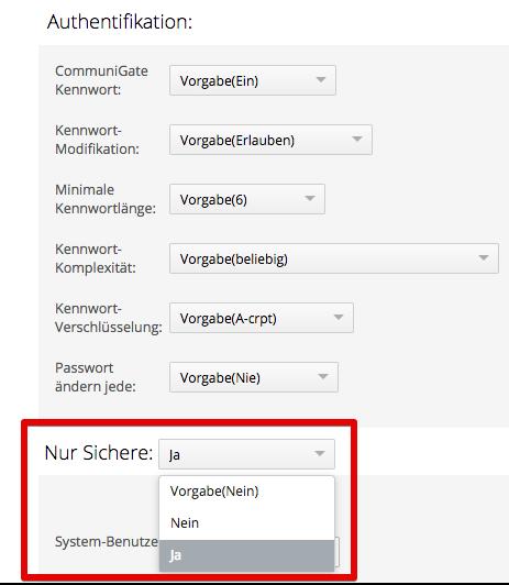 TLS-Verschlüsselung für Logins kann nun zur Pflicht gemacht werden.