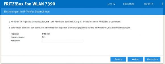 Anmeldedaten für CommuniGate Pro an der Fritzbox