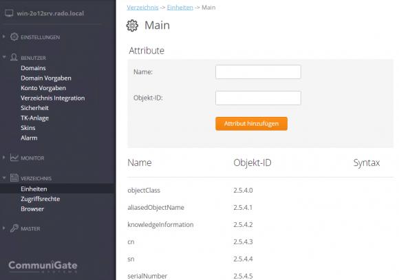 Das Verzeichnis-Schema kann der CG Pro-Administrator bequem über einen Browser einsehen und abändern.
